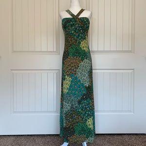 Body Central Peacock Print Maxi Dress - Small